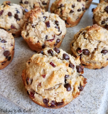 muffins studded with cherries and chocolate chips