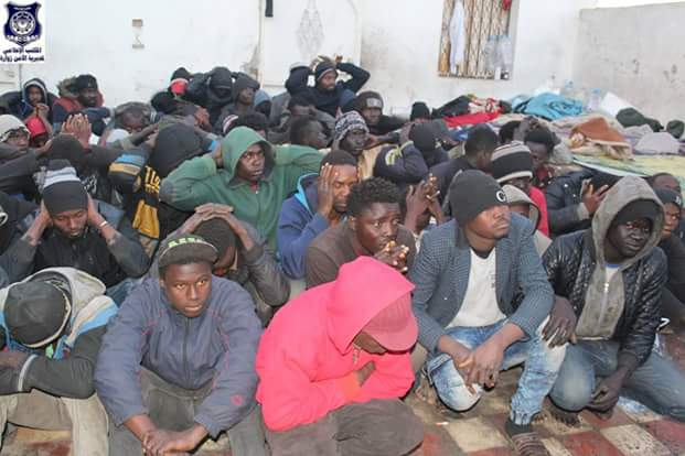 Photos: Libya Police arrest 186 illegal African migrants including Nigerians waiting to be smuggled to Europe