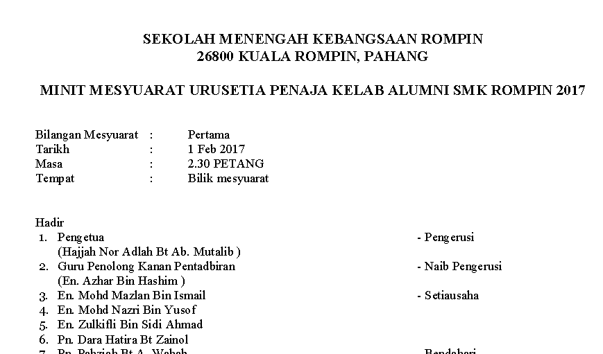 Minit Mesyuarat Alumni Smkr 2017 Kelab Alumni Smk Rompin