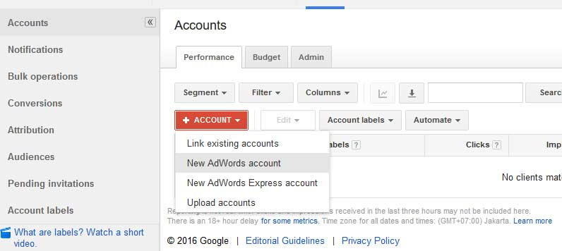 Tampilan dashboard Add-New Adwords Account
