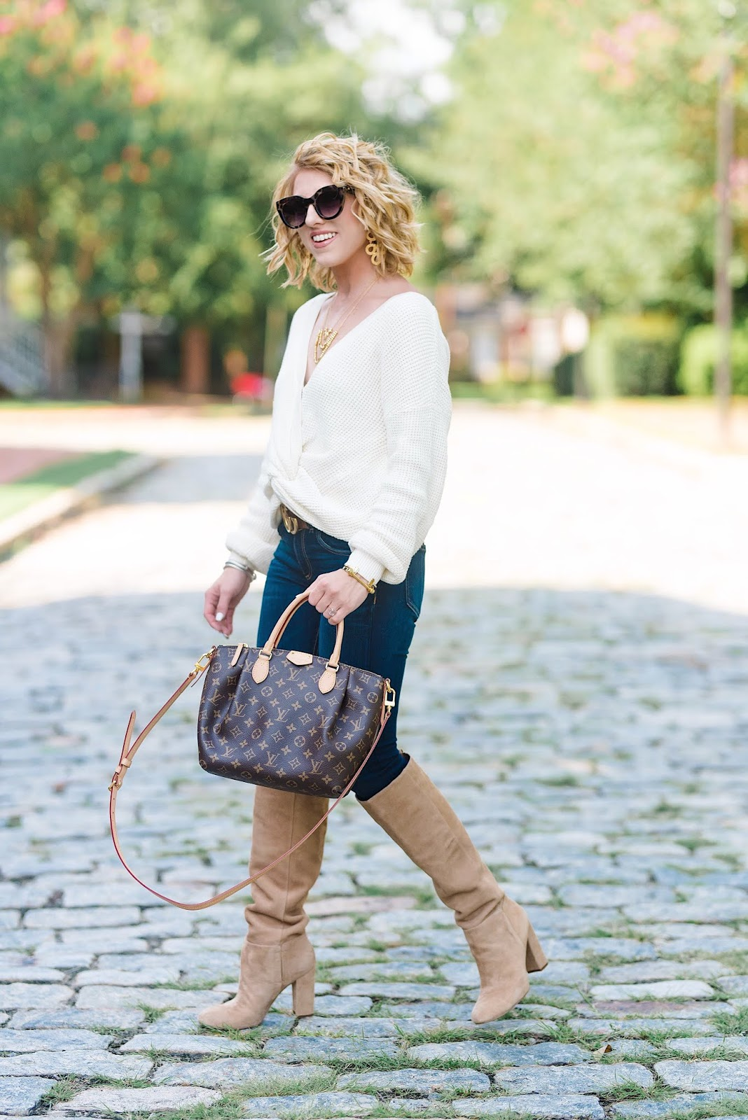 Nordstrom Anniversary Sale Twist Front Sweater, jeans and boots - Something Delightful Blog
