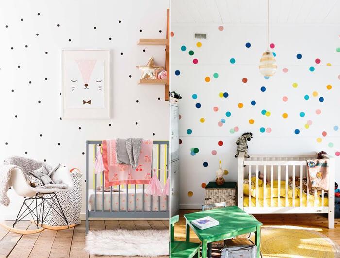 decorare la cameretta dei bambini con pois colorati
