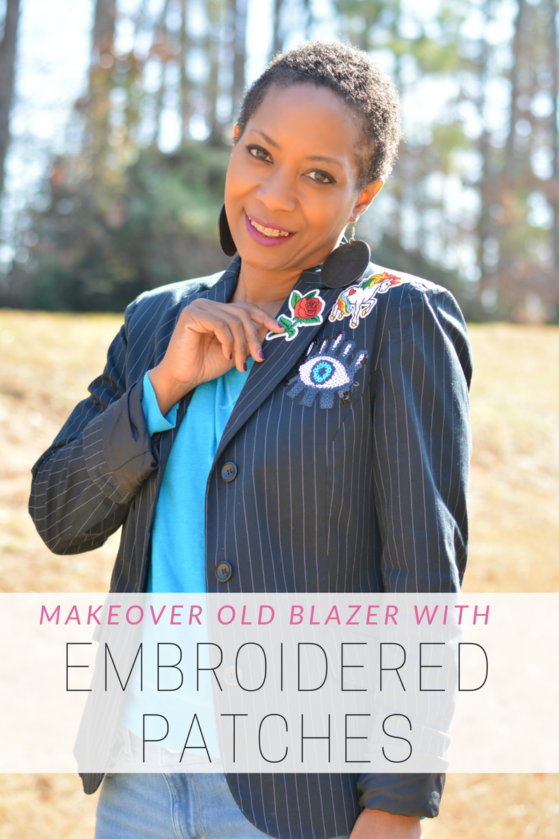 embroidered patches makeover on an old blazer