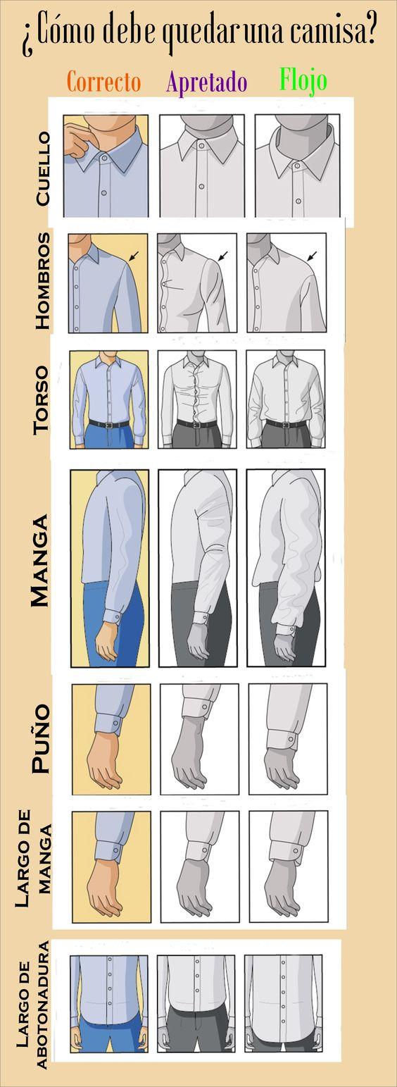 Cómo debe quedar una camisa. Ajuste perfecto para camisa Infografía