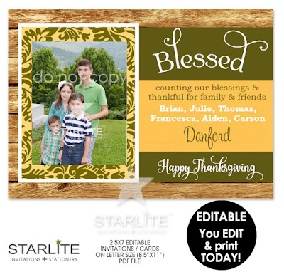Blessed Happy Thanksgiving Photo Card Rustic EDITABLE Instant Download
