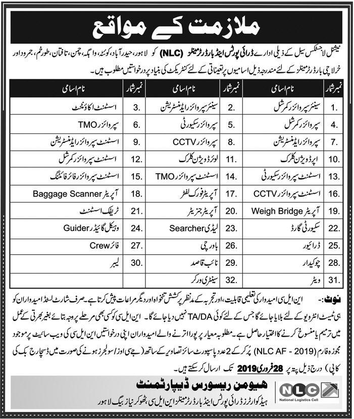 Advertisement for National Logistic Cell Jobs