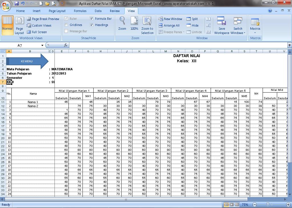 Download Aplikasi Daftar Nilai SMA KTSP Berbasis Ms. Excel Terbaru (New Update)
