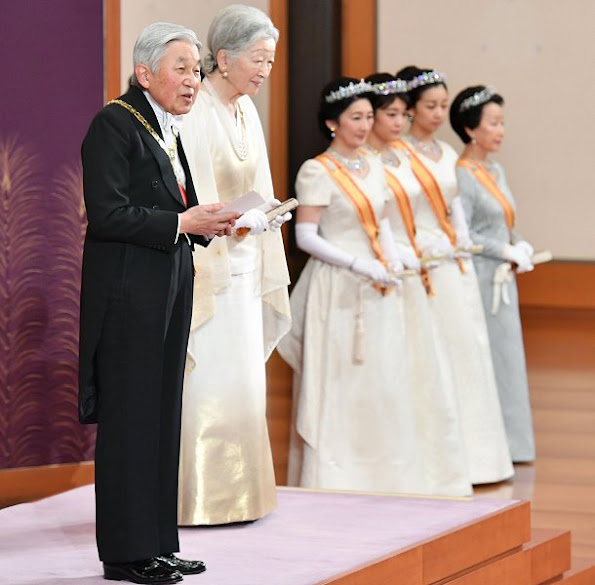 Emperor Akihito, Empress Michiko, Crown Prince Naruhito, Crown Princess Masako, Prince Akishino, Princess Kiko,Princess Mako, Princess Kako,  Princess Aiko, Tiara, diamond tiara, diamond earrings, diamond pearl earrings