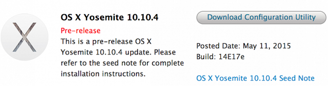 Mac OS X Yosemite 10.10.4 Beta 3 (Build-14E17e)