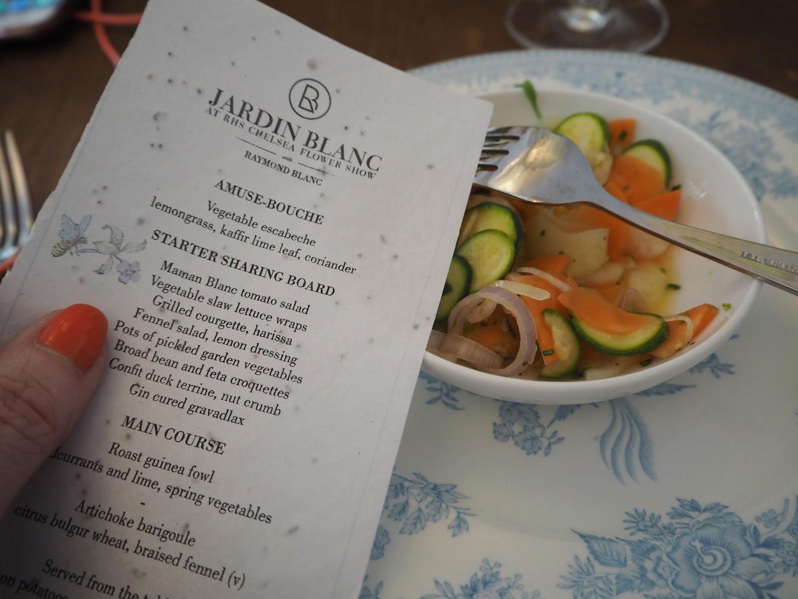 Lunch menu Jardin Blanc, Chelsea Flower Show