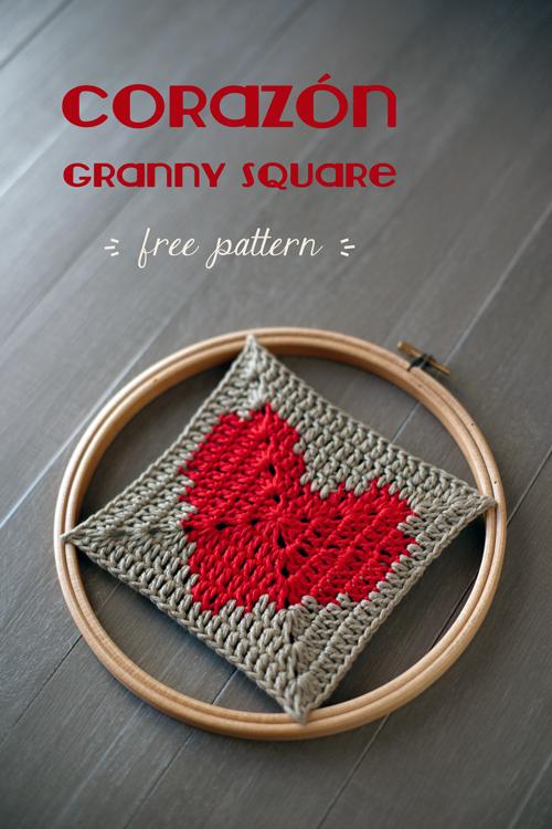 Lanukas: Un corazón en granny square sólido