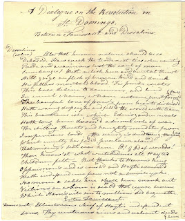"Page one of the hand-written ""Dialogue"" from 1804."