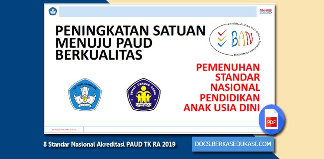 8 Standar Nasional Akreditasi PAUD TK RA 2019