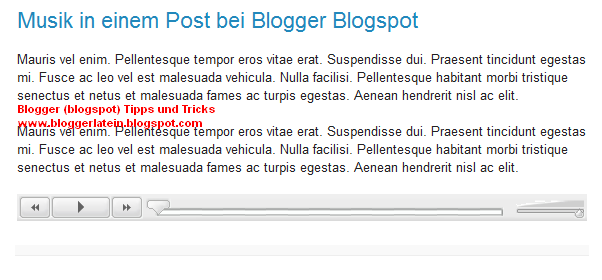 Musik in einem Blogger Blogspot Post. Mp3 Player in einem Blogger Blogspot Post.