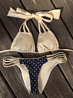 Eve7, swimwear, reversible, bikini, Bardot, gold, nude, polkadot, 4 in 1, four in one, you are worth it, save money, style, trend