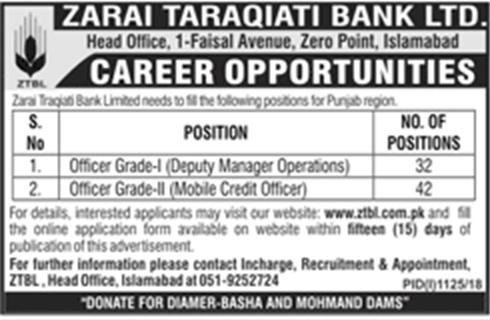 ZTBL Jobs 2018 | Zarai Taraqiati Bank Limited | September