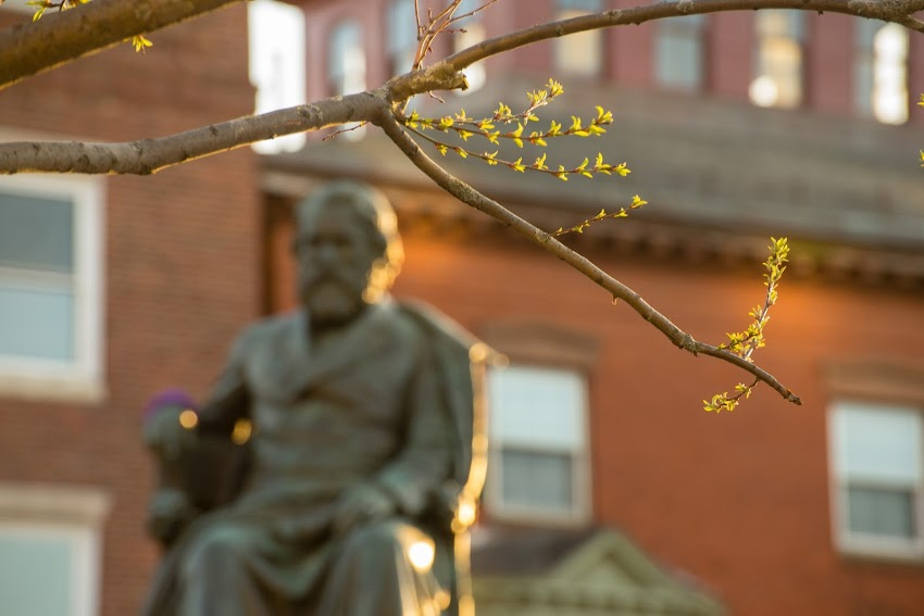 Portland, Maine USA photo by Corey Templeton of a hint of spring in Longfellow Square.