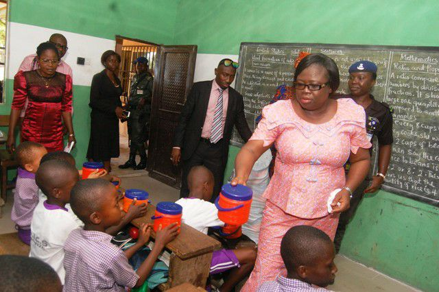 Mrs. Nkechi Ikepazu at Ohanze Isiahia Community School in Obingwa Local Government Area.