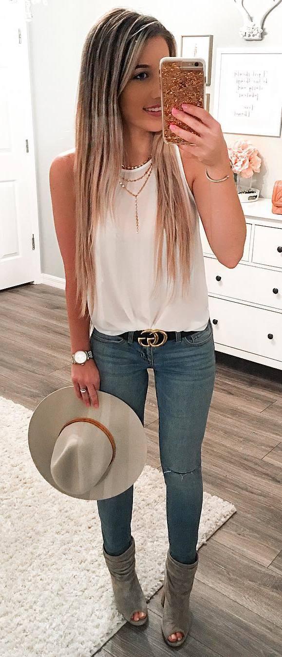 simple summer ootd: hat + top + rips