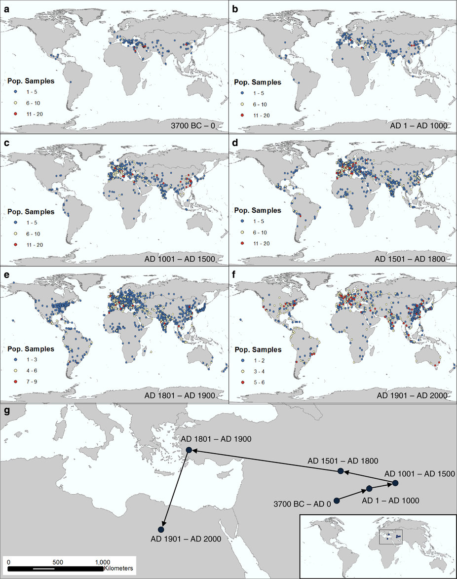 Spatializing 6,000 years of global urbanization from 3700 BC to AD 2000