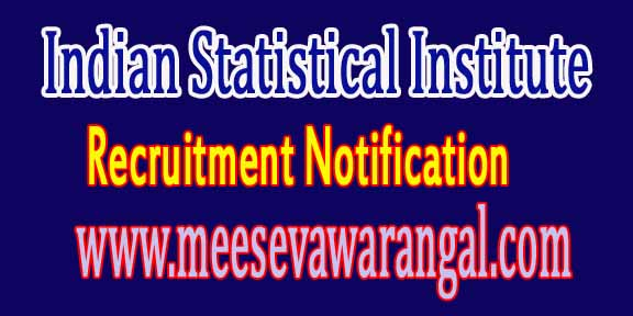 Indian Statistical Institute ISI Kolkata Recruitment Notification 2016