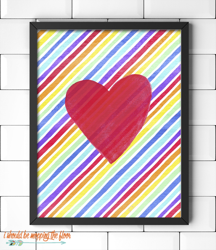 Red Heart Printable on a Rainbow