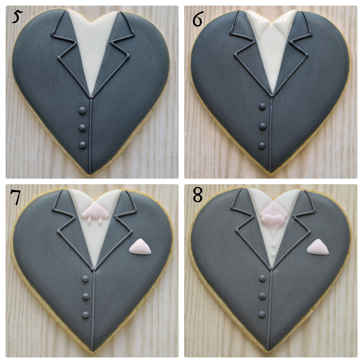 Final four steps in creating groom on a heart decorated cookie for wedding favours, by Honeycat Cookies