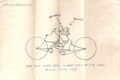 Love-Biking cartoon of Mary Eleanor Davis and Beverly, Shenandoah College 1946-1948