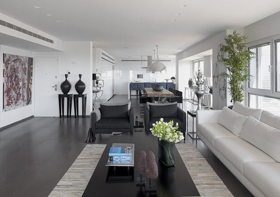 Grey And White Apartment With Space Saving Concept