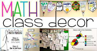 Are you looking for math classroom decor ideas? In this post there are ideas for decorating elementary, middle and high school math classrooms. Includes links to free pdf posters, math word walls and other fun ideas to add to your math classroom decor.