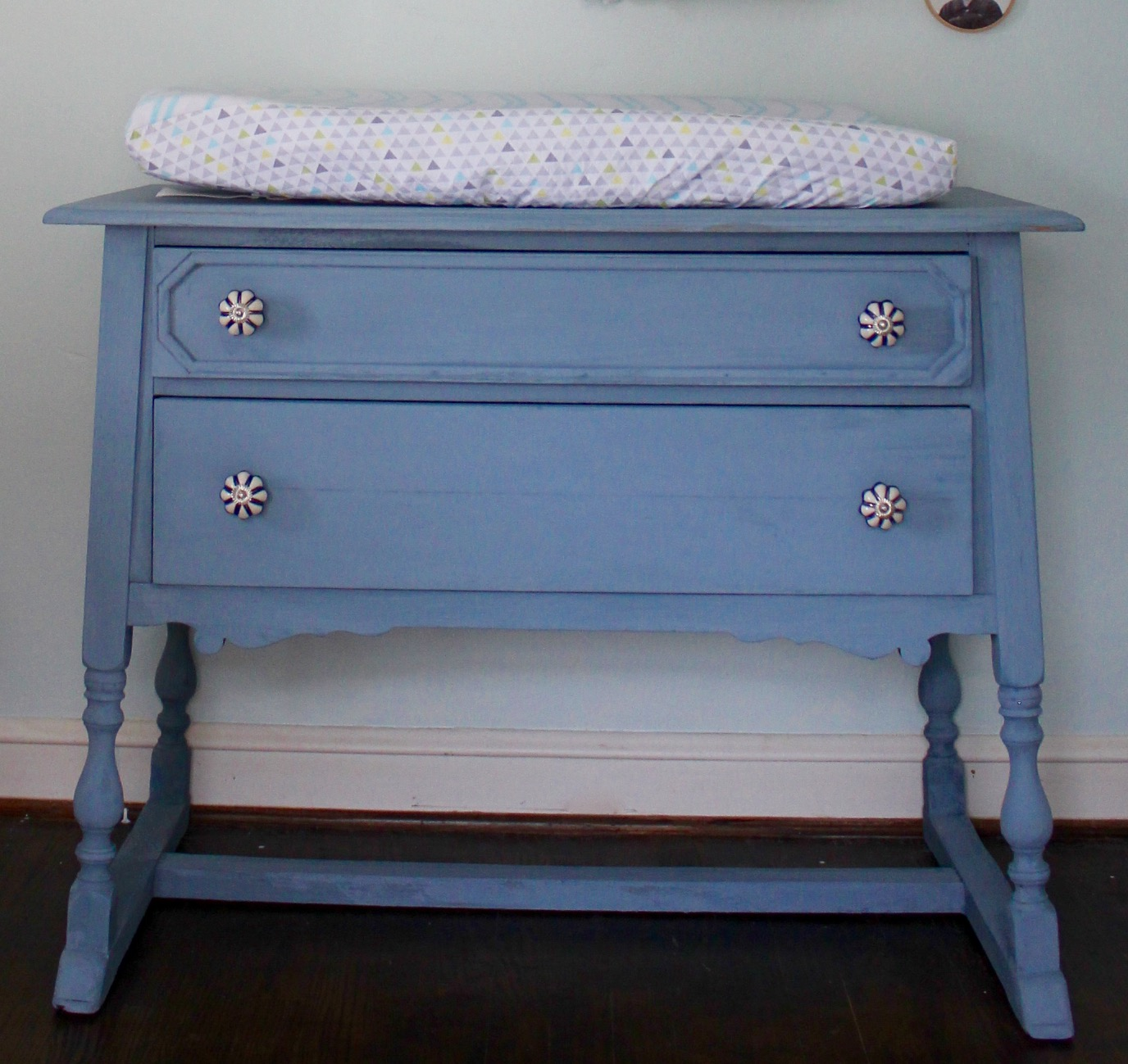 The Cute Knobs Were Only $5 At Home Goods. As You Can See, It Doubles As A Changing  Table And Is Working Out Great.