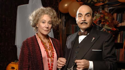 Zoe Wanamaker as Ariadne Oliver with David Suchet as Hercule Poirot in Agatha Christie's Poirot