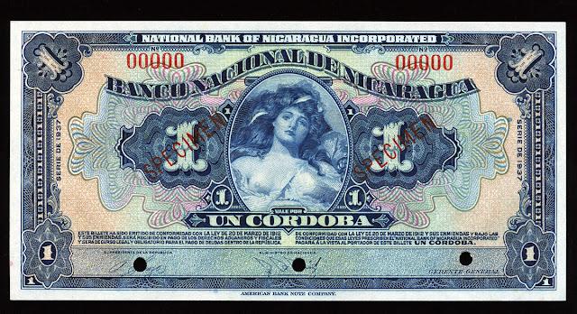 Nicaraguan córdoba banknote billete