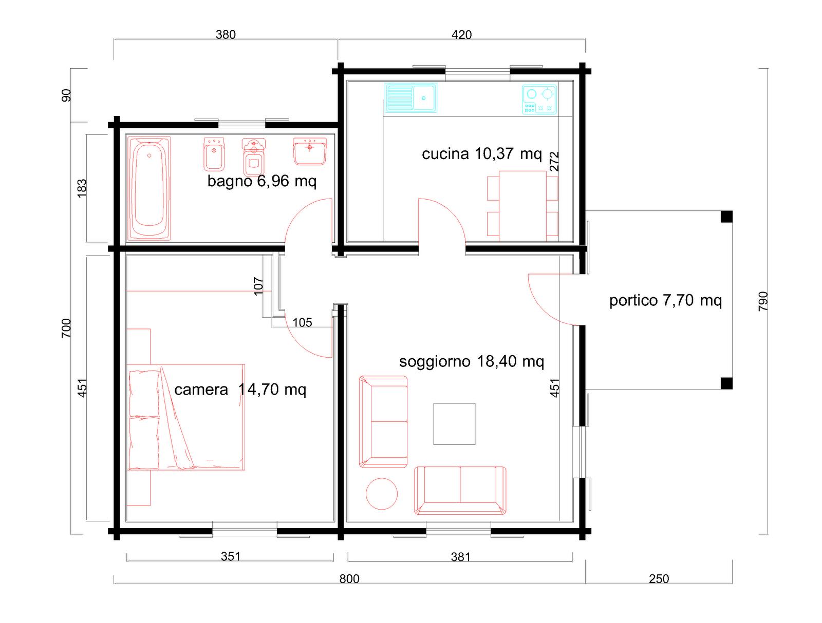 Progetti di case in legno casa 60 mq portico 8 mq for Progetti di case in campagna