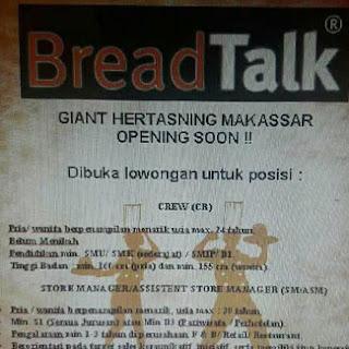 Lowongan Kerja di BreadTalk Hertasning Makassar