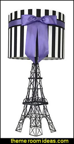 Eiffel Tower Table Lamp with Bowknot Shade purple paris bedroom - Paris themed bedroom ideas - Paris style decorating ideas - Paris themed bedding - Paris style Pink Poodles bedroom decorating -  French theme Paris apartment furniture - Paris bedroom decor - decor Paris style French Poodles - room decor french poodle - Paris Postcard bedding - Paris themed teenage bedroom ideas - Paris eiffel tower decor - decorating ideas for paris themed bedrooms - Paris Inspired Nursery - Paris bedrooms - Poodles in Paris