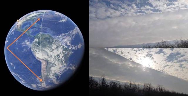 НЛО над Кливлендом и странная дорога в небе на всю длину планеты
