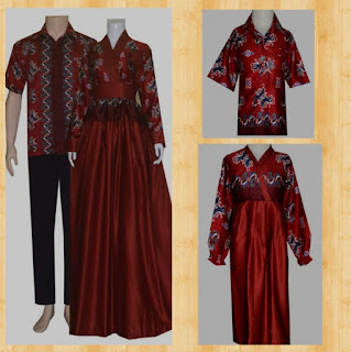 model baju batik couple gamis untuk pesta
