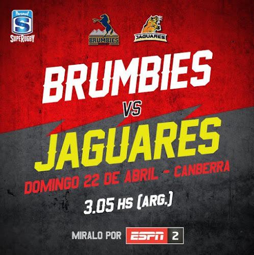 Brumbies - Jaguares (en vivo, Super Rugby, ESPN 2)
