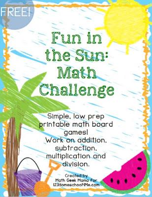 Fun in the Sun Board Games are fun math games for kindergarten, first grade, second grade, third grade, fourth grade, and fifth grade kids