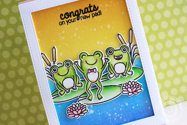 Sunny Studio Stamps: Froggy Friends Sunrise Scene Card by Eloise Blue