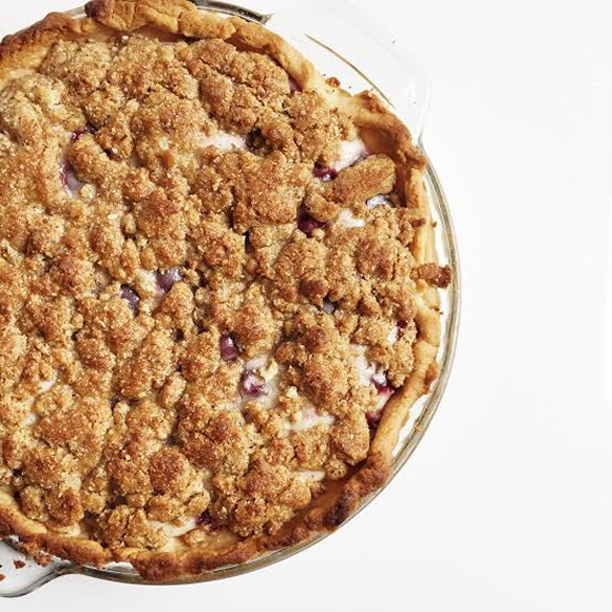 cherry custard crumble pie (and a new netflix obsession)