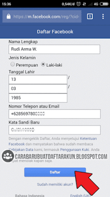 mendaftar facebook di browser hp android