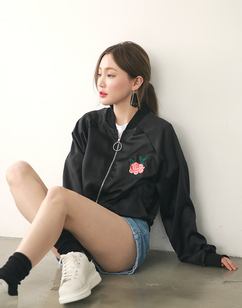 Rose Embroidered Chest Zip Up Bomber Jacket