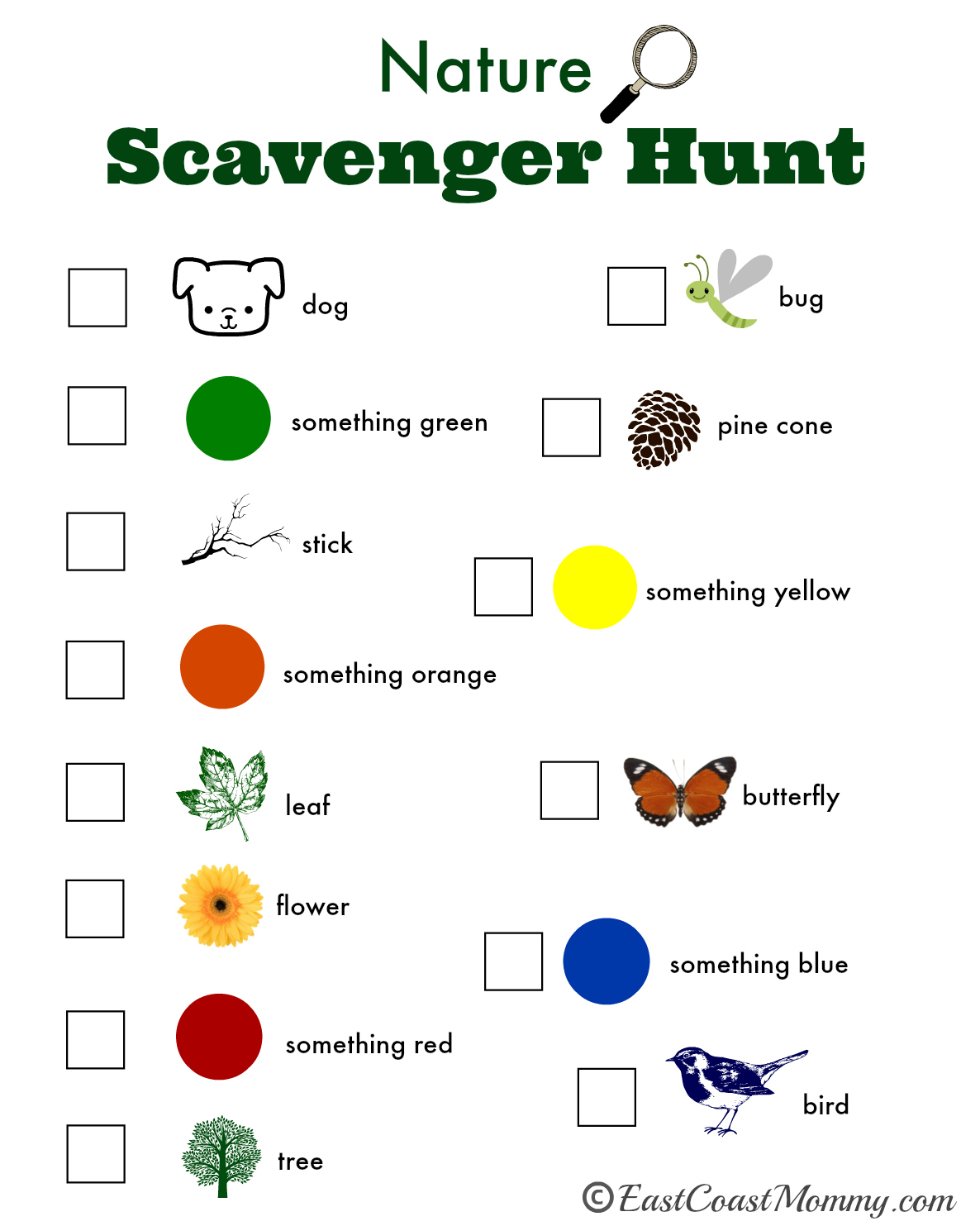 East Coast Mommy Nature Scavenger Hunt With Free Printable