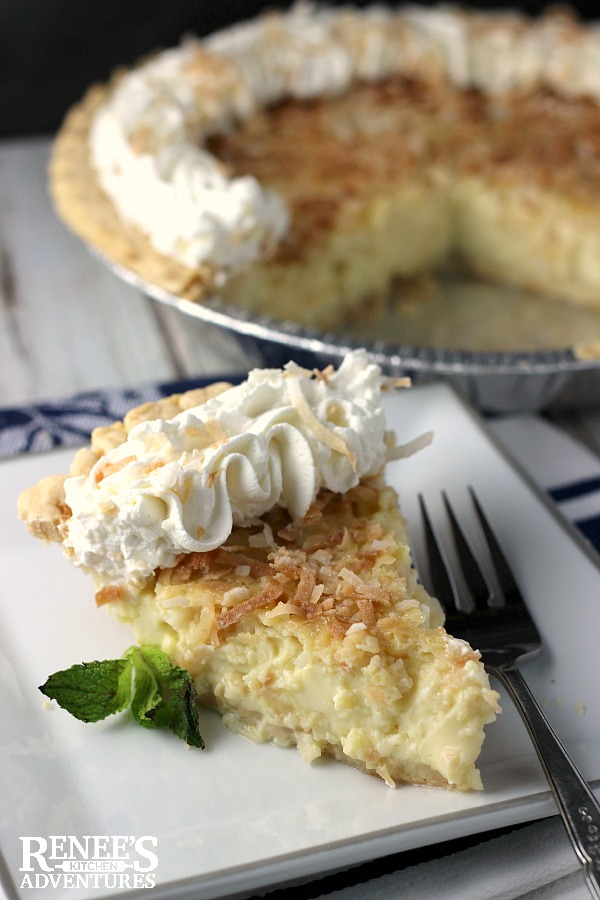 Coconut Custard Pie | Renee's Kitchen Adventures