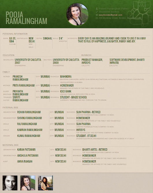 Professional Marriage Biodata