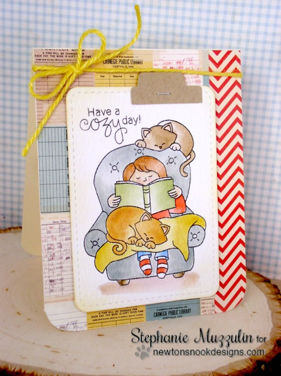 Cozy Reading with Cats Card by Stephanie Muzzulin | A Cozy Day In Stamp set by Newton's Nook Designs #newtonsnook