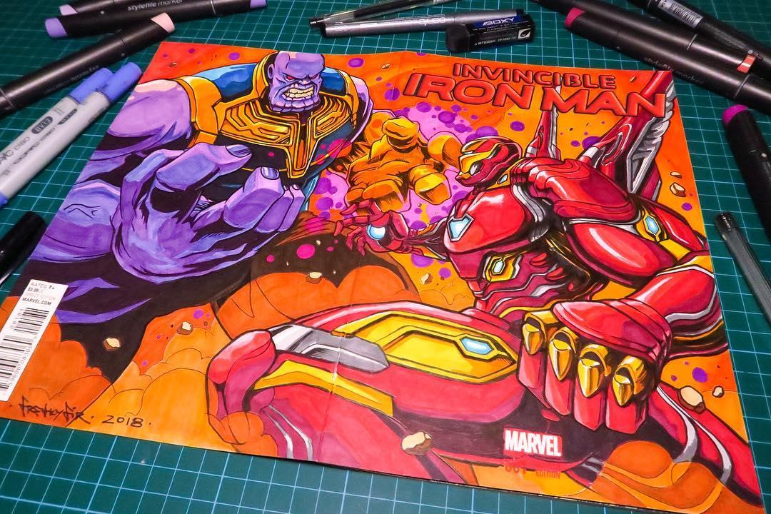 579f5d545 Iron Man vs Thanos #InfinityWar Comicbook Cover Fanart by Freakyfir