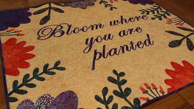 Floral frame applique quilt using Island Batik fabrics